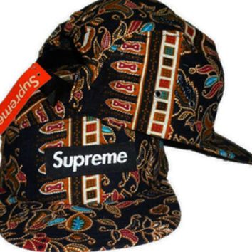 NEW! Supreme Box Logo Paisley Black Strapback Hat Collection — Streetwear Villa | A Premium Online Streetwear Shop - For Substance