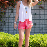 Do or Tie Dye Ruffle Short- Orange Red
