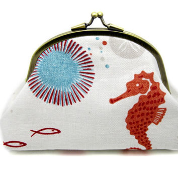 Seaside Coin Purse Wallet Clutch Coral Greene Blue Fish Shell Gold Kiss Lock Double Frame