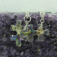 Puzzle pendants 2 piece set Real flowers C4