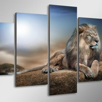 Mighty Lion Limited Edition 5-Piece Wall Art Canvas