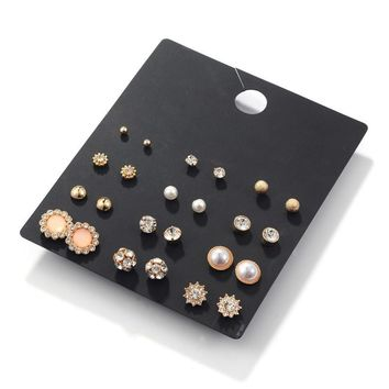 Earrings Hot Sale Simple Design Rhinestone Pearls Strong Character Accessory Set [197065048090]