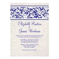 Royal Blue Country Burlap Linen Wedding Invitation