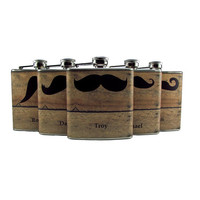 Faux Barn Siding Mustache Groomsmen Set of 5 by thehairofthedog