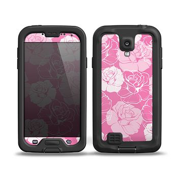The Subtle Pinks Rose Pattern V3 Skin for the Samsung Galaxy S4 frē LifeProof Case