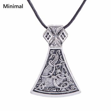 Minimal Thor Hammer Viking Axe Perun's Slavic Viking Jewelry Men Amulet Pendant Necklace Personality Jewelry