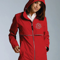RED Monogrammed Rain Jacket -Womens - Personalized - Adult Sizes