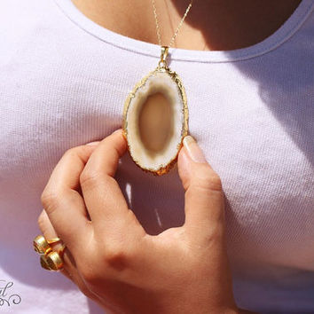 Milk agate slice on gold filled chain