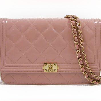 CHANEL Chain wallet Shoulderbag A80287 enamel Patent leather Pink
