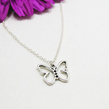 Butterfly Necklace - Charm Necklace - Butterfly Pendant - Silver Butterfly Charm - Monarch Butterfly Necklace - Butterfly Jewelry