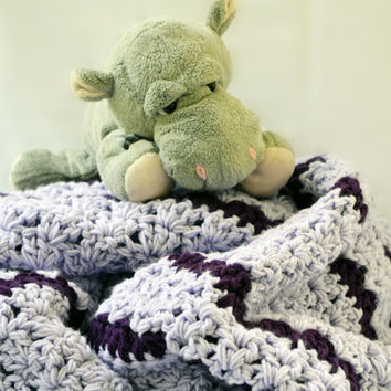 Cozy double thick large purple crochet blanket, crochet afghan, twin size crochet blanket, crochet lap blanket, bedding, travel blanket