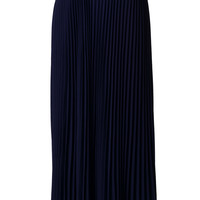 Chiffon Navy Blue Pleated Maxi Skirt Blue