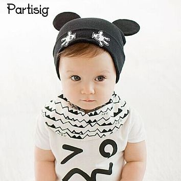 Partisig Brand 2017 Baby Hat Cartoon Baby Caps Cotton Kintted Ear Cap For Baby Girls And Boys Autumn Winter Infant Hats