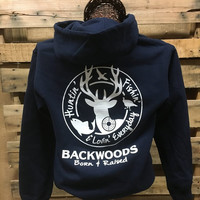 Backwoods Born & Raised Hunting Fishing & Loving Everyday Unisex Long Sleeve Bright Shirt Hoodie