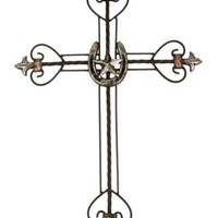 M&F® Western Moments™ Horseshoe and Star Metal Fleur de Lis Wall Cross