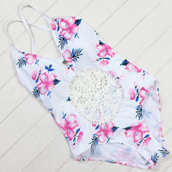 Pink Floral Crochet One-Piece