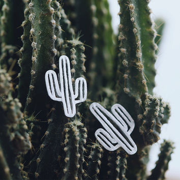 Real pure 925 sterling silver cactus earrings for women hot fashion sterling-silver-jewelry brincos pendientes