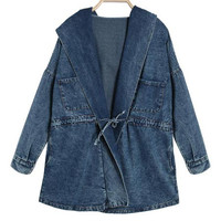 'The Claudina' Denim Hooded Trench Coat