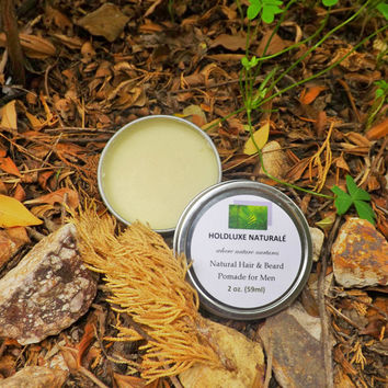 Natural Unisex Hair & Beard Pomade– Small Batch Handmade – Essential Oils – Shea Butter Based- Natural Hair Balm for All Hair Types