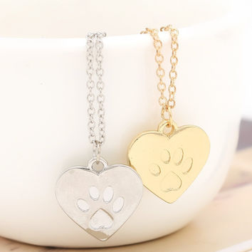 Heart Paw Print Animal Necklace