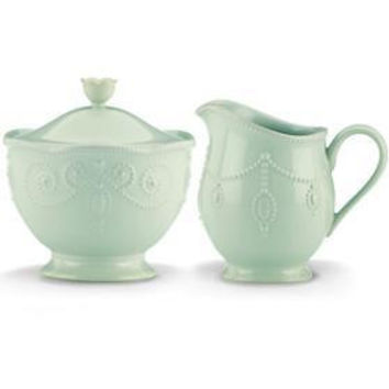 French Perle Ice Blue Sugar & Creamer Set by Lenox