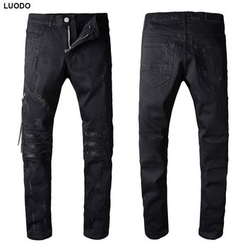 New Italy Style #506# Mens Distressed Scratchs Stretch Moto Pants Black Denim Biker Jeans Slim Trousers Size 28-42