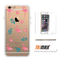 365Printing Tri Max® Pink Flamingo Pattern Clear Transparent Apple iPhone Cases iPhone 6 6S Plus
