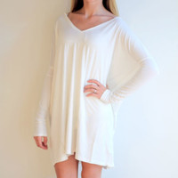 Piko- V Neck Long Sleeve Tunic/Dress- Off White Copy