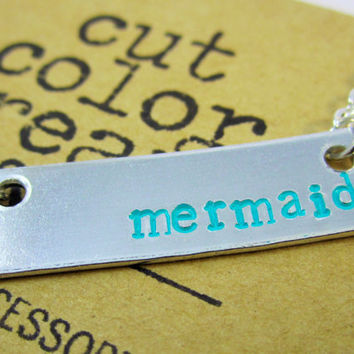 Mermaid, Mermaid Necklace, Mermaid Jewelry, Under the Sea, Handstamped Necklace, Beach Bum, Gifts for Swimmers, Ocean Life, Summer Jewelry