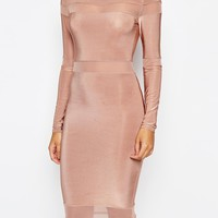 Missguided Long Sleeve Mesh Panel Midi Dress at asos.com