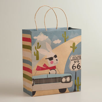 Car Fox & Hare Large Kraft Gift Bag - World Market