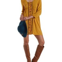 Mustard Embroidered Empire Waist Shift Dress by Charlotte Russe