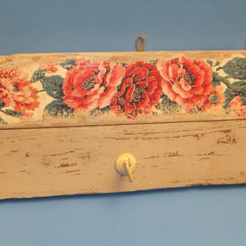 Upcycled Country Chic Rack / Hat / Coat / Roses / Distressed Paint / Vintage Hooks / Old Weathered Wood