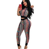 Fendi Fashion New Summer Multicolor More Letter Print Sports Leisure Top And Pants Two Piece Suit