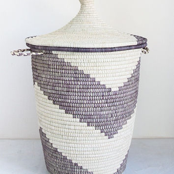 Oversized Grey Arrow Natural Banana & Palm Leaf Storage Basket