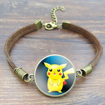 New Pokemon Pikachu Art Image bracelets & bangles Retro Bronze Jewelry Brown Rope Charm Bracelet for Fitting Gift