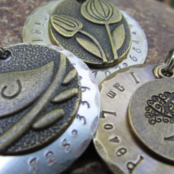 Custom Pet ID tag  Pet Tag  Antique Bronze by themadstampers