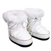 Gucci Unisex White Nylon Interlocking G Fur Trim Kids Boots 298368