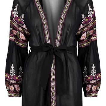 Floral Embroidered Robe