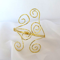Cosplay armlet, gold tribal upper arm cuff, above the elbow  warrior cuff bracelet