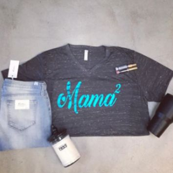 Turquoise Foil on charcoal fleck v neck Mama heart 2 t-shirt