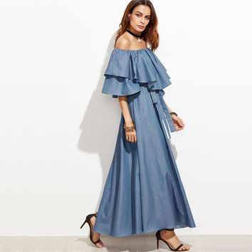 Off The Shoulder Ruffle Chambray A Line Maxi Dress