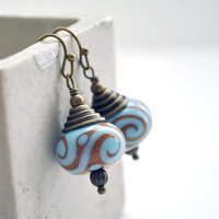 Blue Earrings, Spiral Earrings, Brown Earrings, Dangle Earrings, Lampwork Glass Earrings