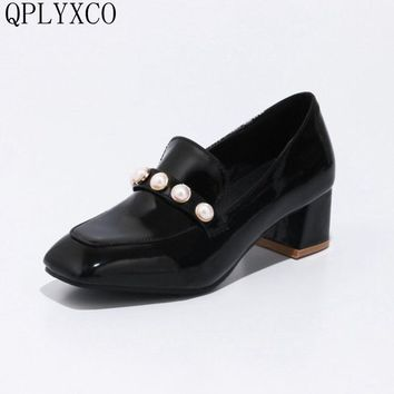 QPLYXCO New Sale big Small 33-46 Patent Leather shoes Woman high hells Platform party  zapatos mujer Casual wedding shoes D07