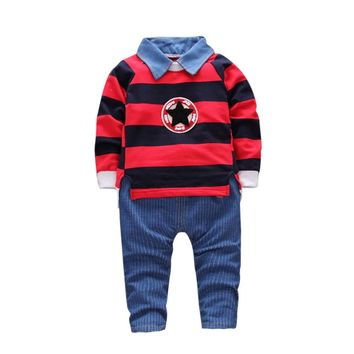Boy's Long-Sleeve Striped Star Decorated Sweatshirt & Denim Jeans Set