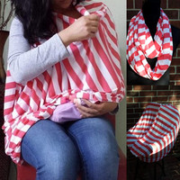Coral Nursing Cover/ Scarf converts into a Car Seat Cover