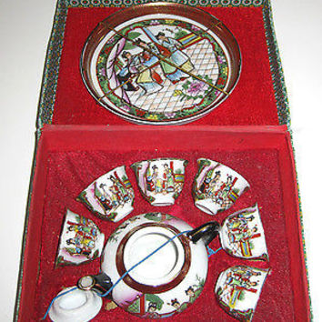 Childs Porcelain Satsuma Tea Set Gold Gilt Japan Fabric Box Ladies at Tea