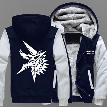 Winter Coat Animation Monster Hunter Male style Plush thickening Warm hoodies men