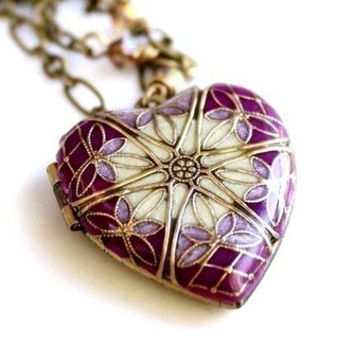 Valentines Heart Purple Locket Women's Necklace Personalized Necklace with Message Note Letter Gift For Her Mom Mother