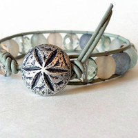 Beachy Leather Wrap Bracelet Sand Dollar Button Chan by PZWDesign